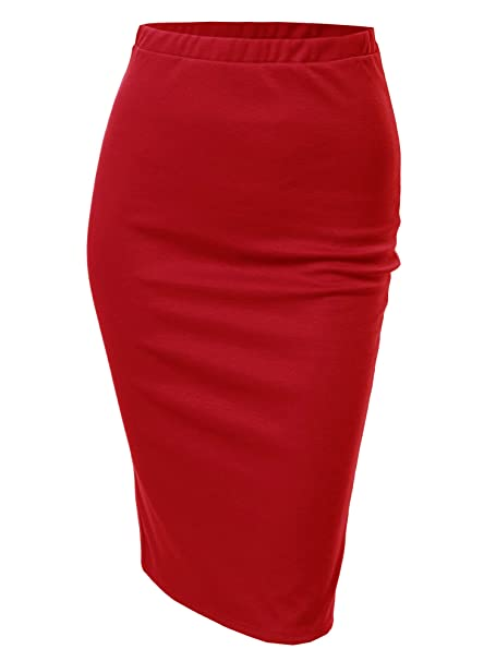6a9d4f247 Awesome21 Solid Office High Waist Midi Pencil Skirt - Made in USA Tomato  Red Size S