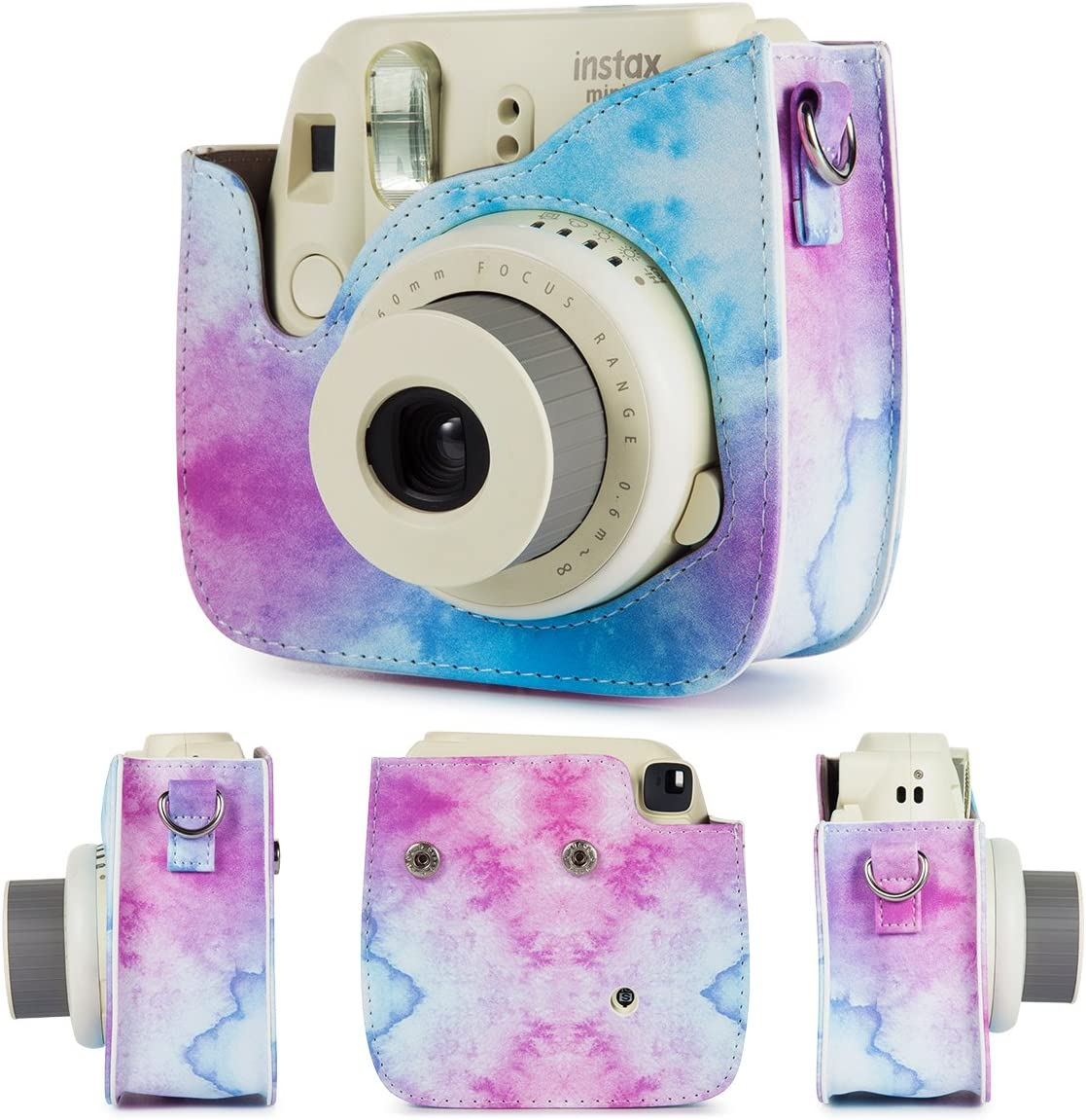 Case,Albums,Frames,Film Stickers,Colored Filters,Selfie Lens Flylther Compatible Mini 8 9 Camera 8-in-1 Accessories Bundles Set for Fujifilm Instax Mini 8 9 Instant Film Camera Blue Pink Watercolour