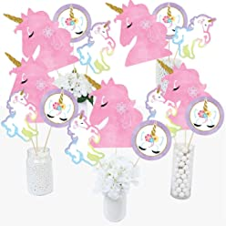 3d6e7af7a3f59 Rainbow Unicorn - Magical Unicorn Baby Shower or Birthday Party Centerpiece  Sticks - Table Toppers -