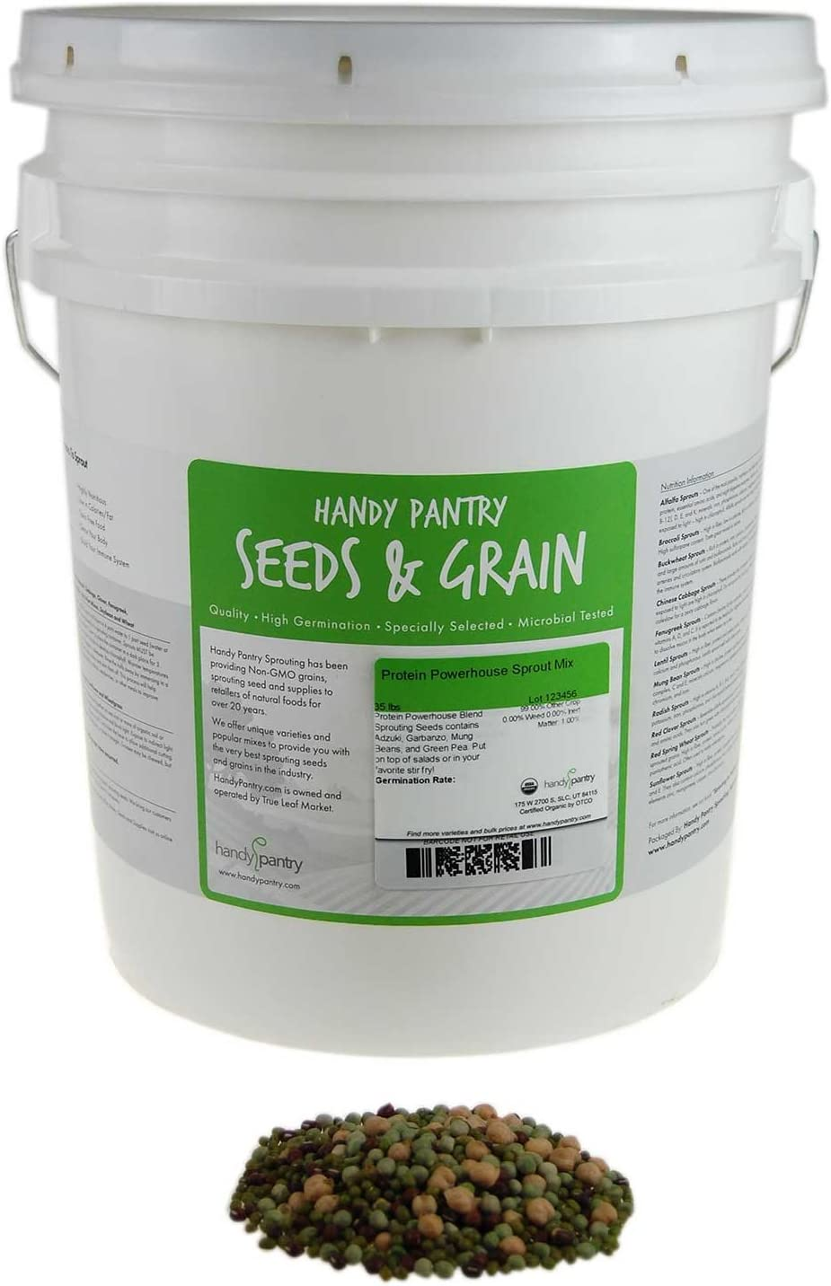 Handy Pantry Protein Powerhouse Sprouting Seed Mix: 35 Lb - Organic, Non-GMO - Sprouting Sprouts, Food Storage. High Protien Sprouts - Pea, Mung, Green Pea, Adzuki