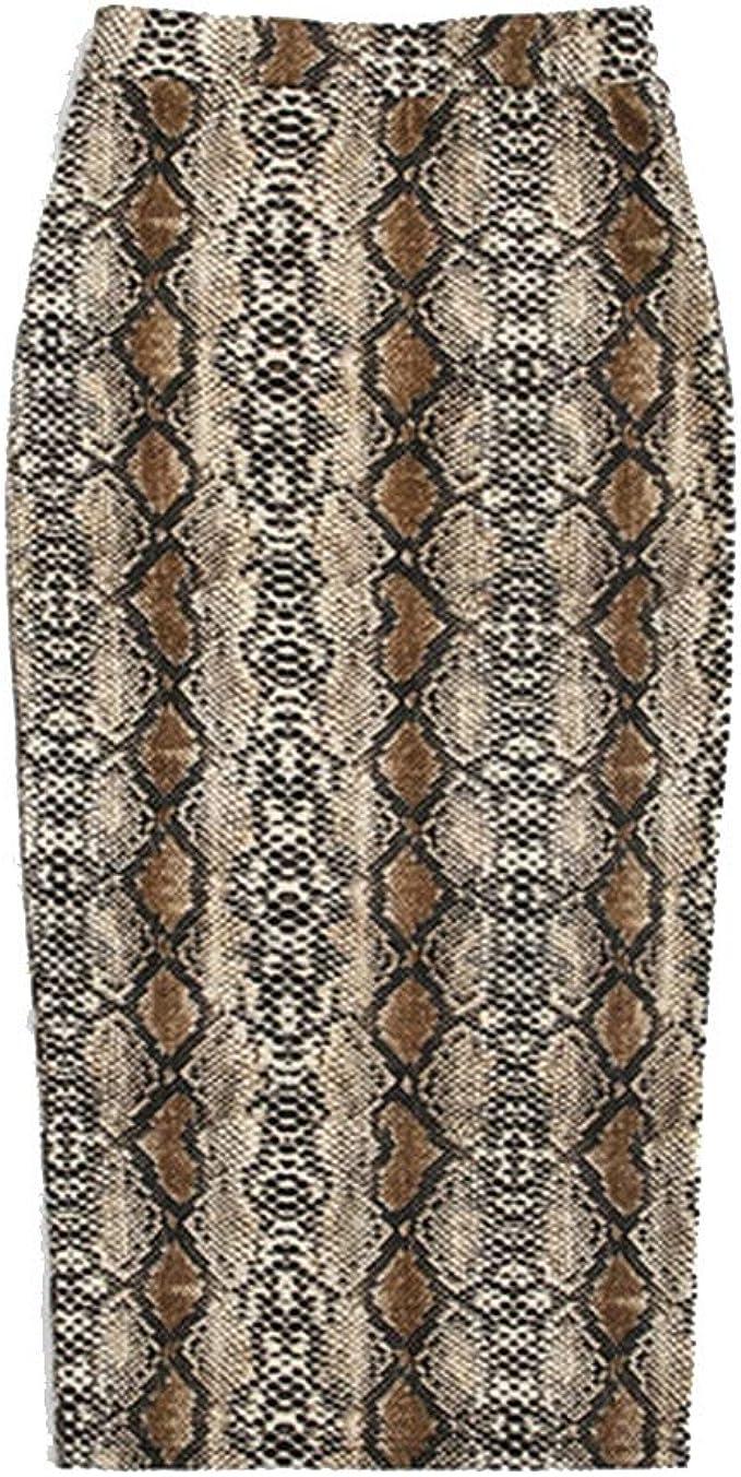 MAO MAO Falda de Piel de Serpiente para Mujer, Elegante ...