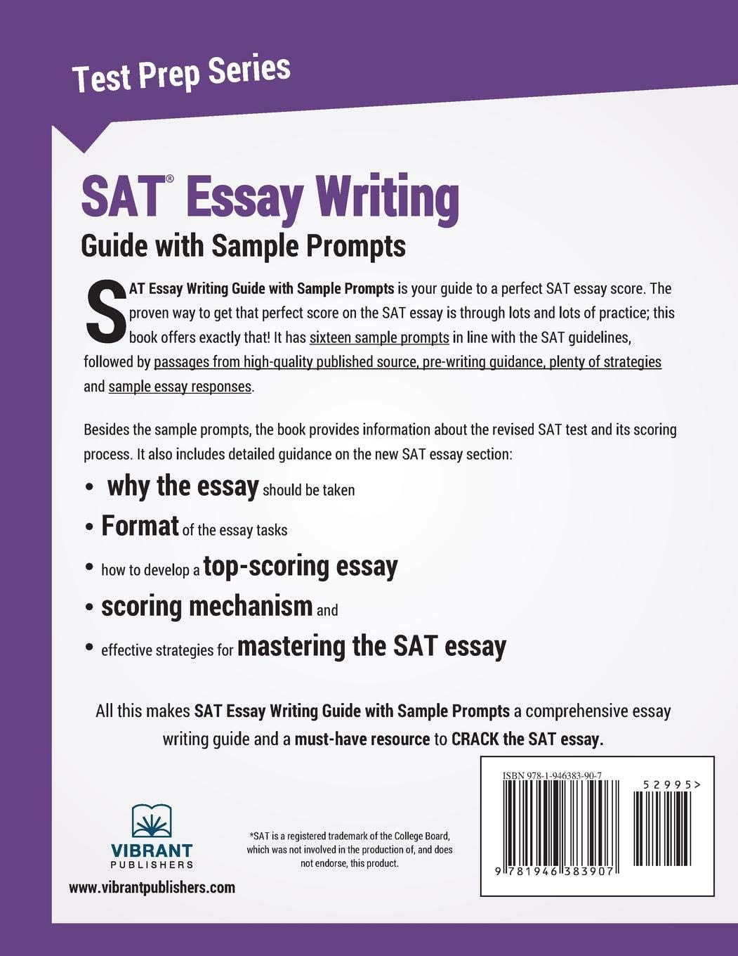 SAT Essay Writing Guide With Sample Prompts Volume 30 Test Prep Amazonin Vibrant Publishers Books