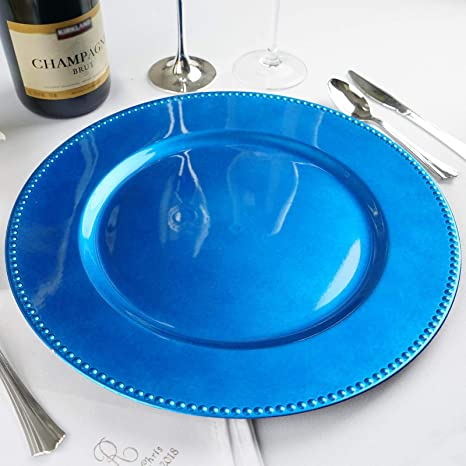 Tableclothsfactory 24 pcs 13 Royal Blue Beaded Round Charger Plates