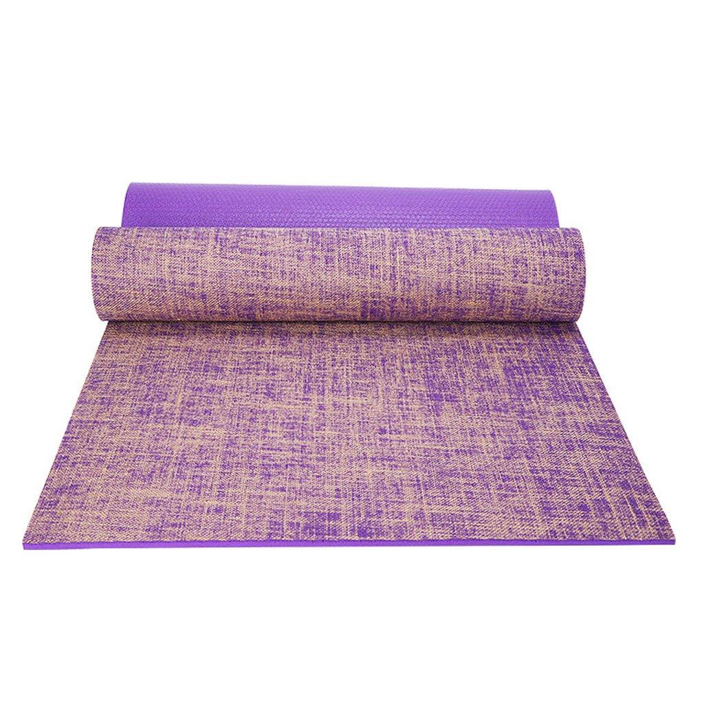 QAR Anfänger Formung Fitness Matte Vintage Leinen Rutschfeste Yogamatte Yoga Matte (Farbe   lila)