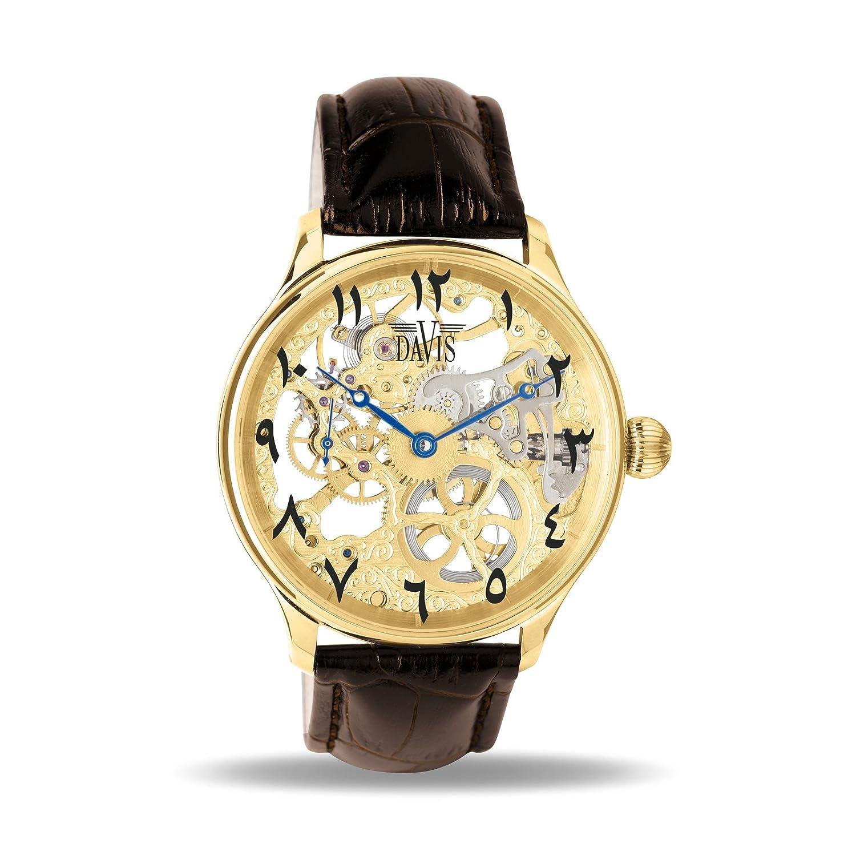 1f464caebd59 Davis Reloj Esqueleto para Unisex Adultos de Mecánico con Correa en Cuero  0895 East  Amazon.es  Relojes