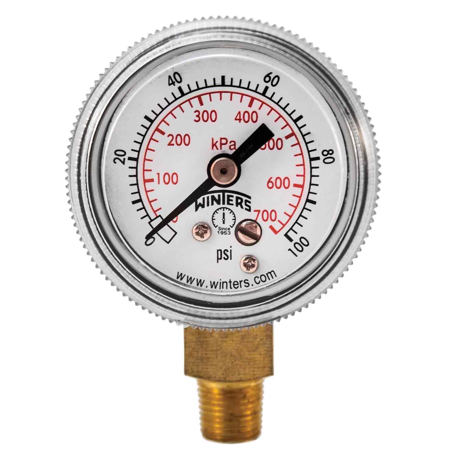 """Winters P9S 90 Series Steel Dual Scale Pressure Gauge with Removable Lens, 0-100 psi/kpa, 1-1/2"""" Dial Display, +/-2-1-2% Accuracy, 1/8"""" NPT Bottom Mount"""