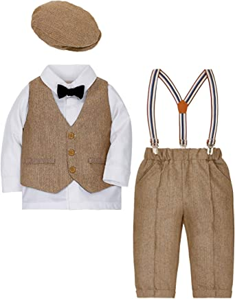 Boys Formal Suit Set 4Pcs Tuxedo Wedding Dresswear with Blazer Shirt Pants Bow Tie Birthday Party Outfit for Kids Baby