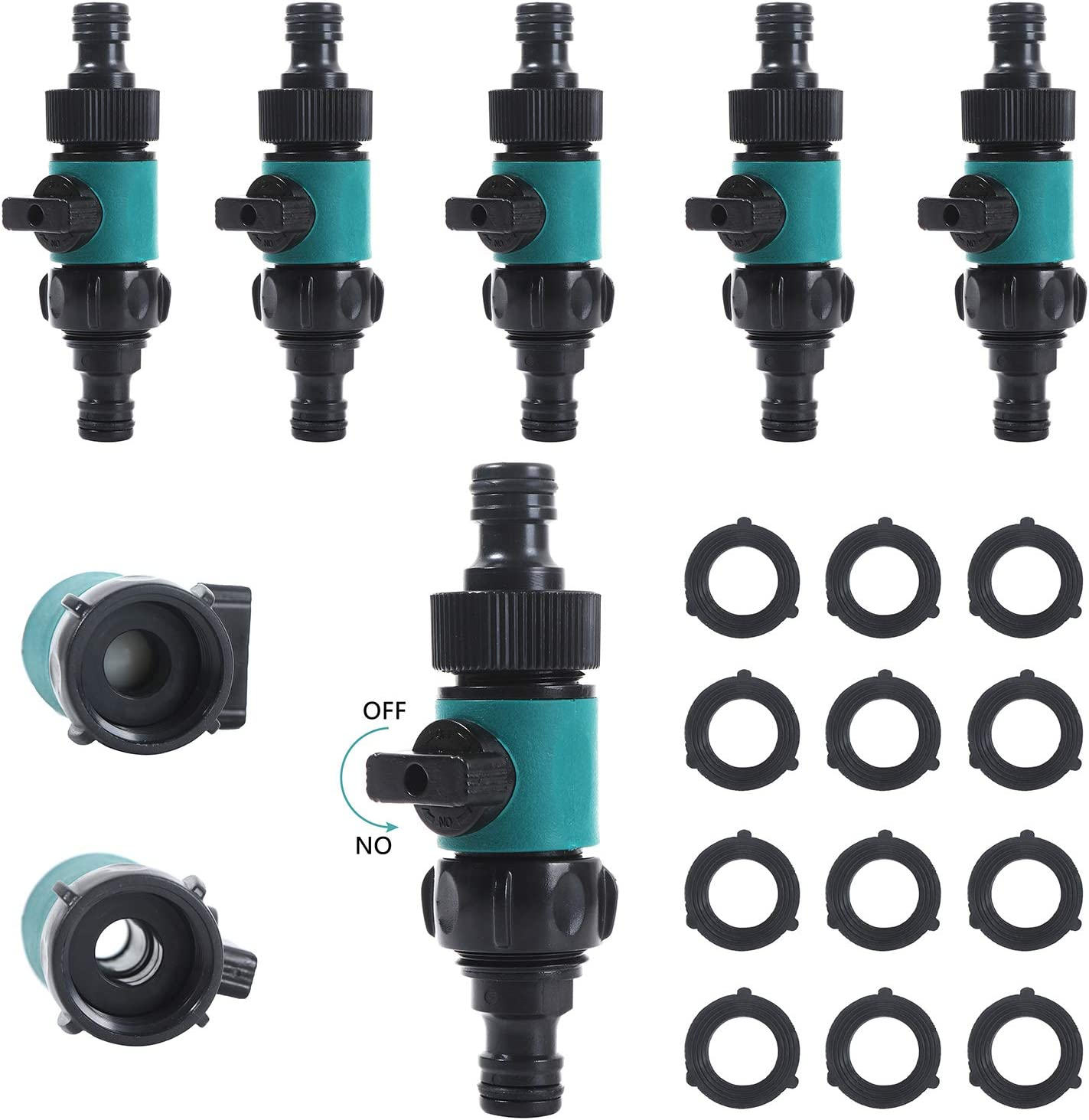 """ABS Plastic Quick Connects with Shut-off Valve Set Male and Female, Garden Hose Connect Water Hose Turn Off Valve Connector - 3/4""""Quick Connectors Sets with 12pcs Anti-Leak Ball Valve(6 Sets/ 12 Pc)"""