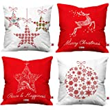Indigifts Merry Christmas Cushion Cover (16x16-inch) -Set of 4