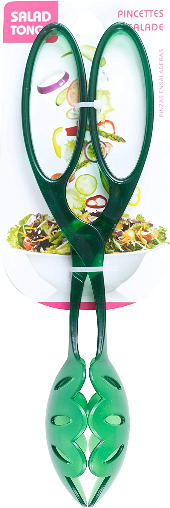 """Serving Spoon Fork Salad Tong W// 1 Red /& 1 Green Christmas 11/"""" Plastic Tongs"""