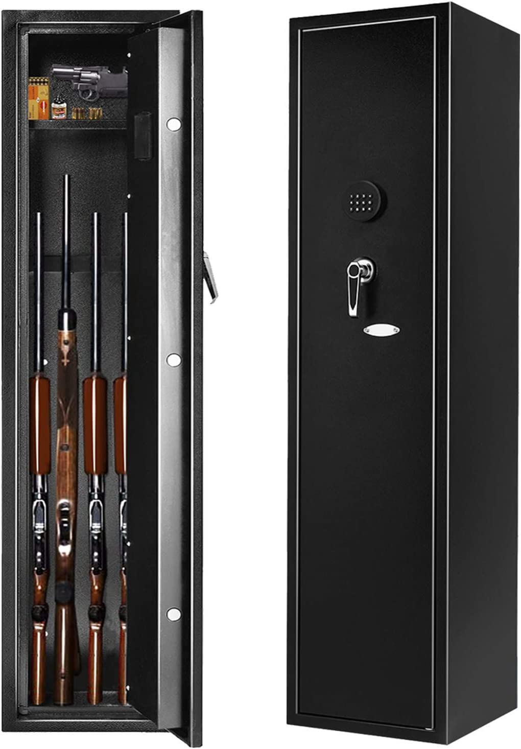 INVIE Large Rifle Safe for Home, Long Gun Safe for 4 Rifle Shotgun, Quick Access Gun Security Storage Cabinet with Removable Shelf for Handguns Ammo