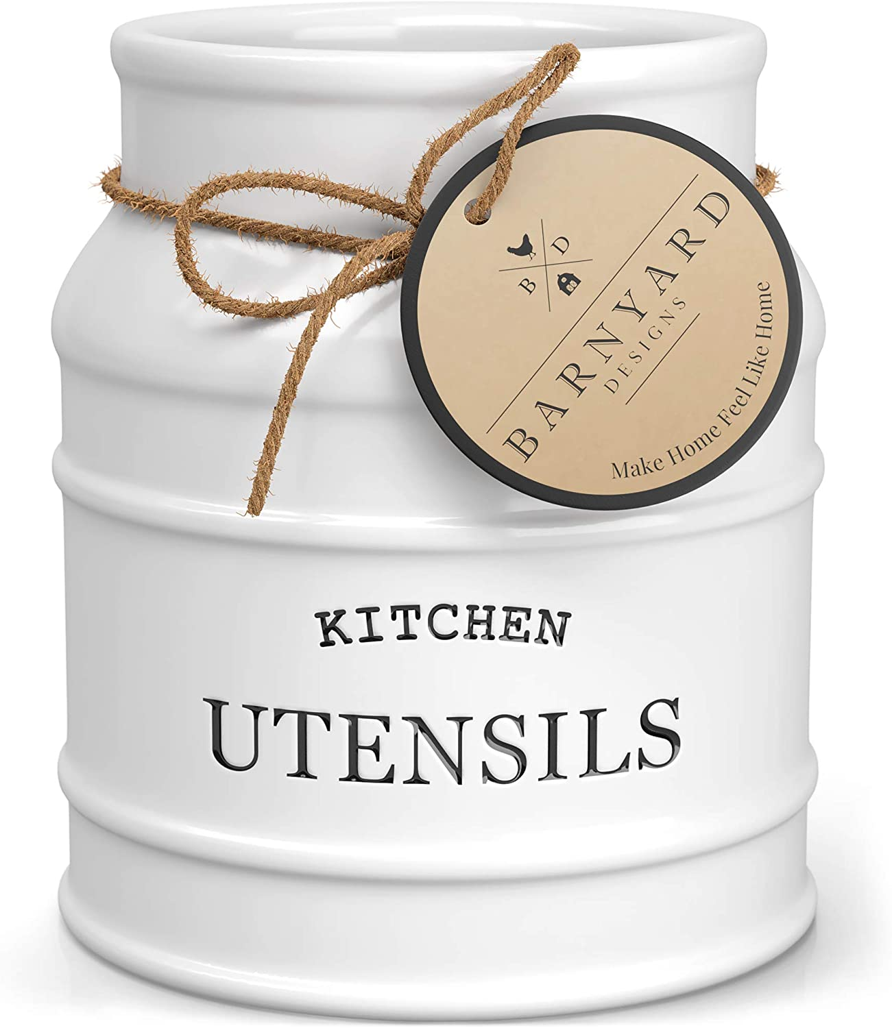 """Barnyard Designs Ceramic Utensil Crock Holder for Kitchen Counter, Rustic Farmhouse Countertop Decor, French Country Organizer for Cooking Utensils, Spatulas and Mixing Spoons, White, 6"""" x 6.75"""