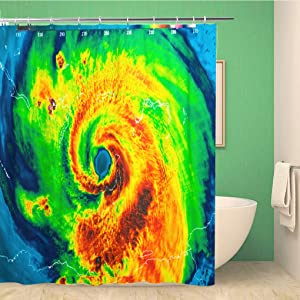 Topyee Shower Curtain Geocolor in The Eye of Hurricane Irma This Furnished 72x78 Inches Waterproof Polyester Bathroom Decor Curtain Set with Hooks