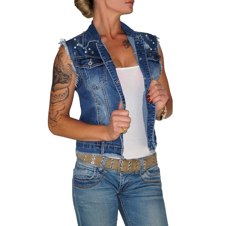 182acaee50 Dresscode-Berlin DB Hochwertige Damen Jeansweste mit Waschung in blau bis Ü  bergrö ß ...