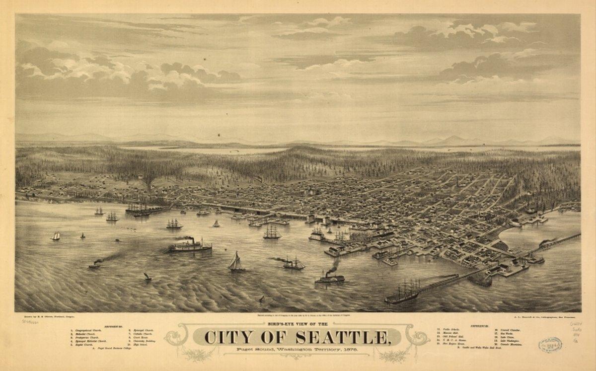 Amazon.com: 1878 Birds eye map of Seattle, Washington Territory ...