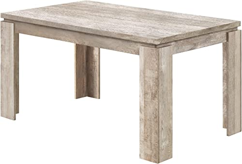 Monarch Specialties 36 X 60 TAUPE RECLAIMED WOOD-LOOK Dining Table
