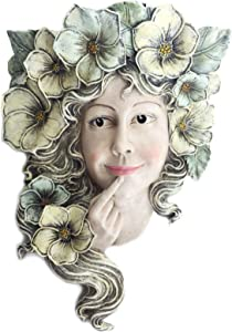 Posee Wall Sculpture Fence Hanging Decor Flower Fairy Outdoor Girl Face Garden Statue