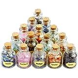 Aoneitem 9 Mini Gemstone Bottles Chip Crystal Healing Tumbled Gem Reiki Wicca Stones Set