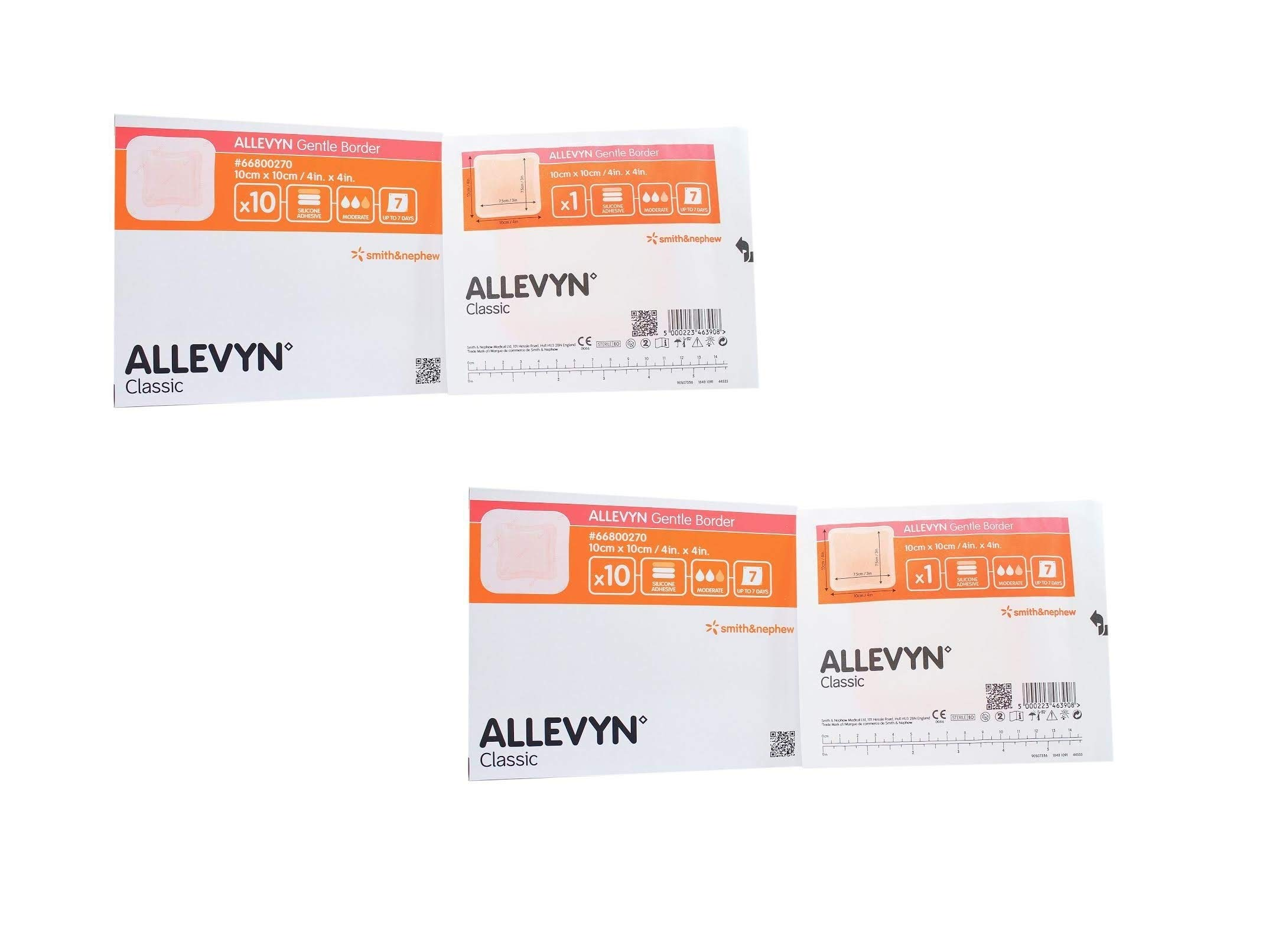 Smith and Nephew 66800270 Allevyn Gentle Border Dressing 4'' x 4'' (2 Pack (10 Count))
