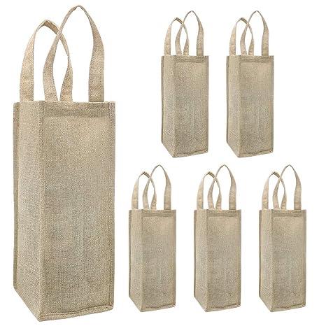Shintop bolsas de vino de arpillera, 6 bolsas de botella de ...
