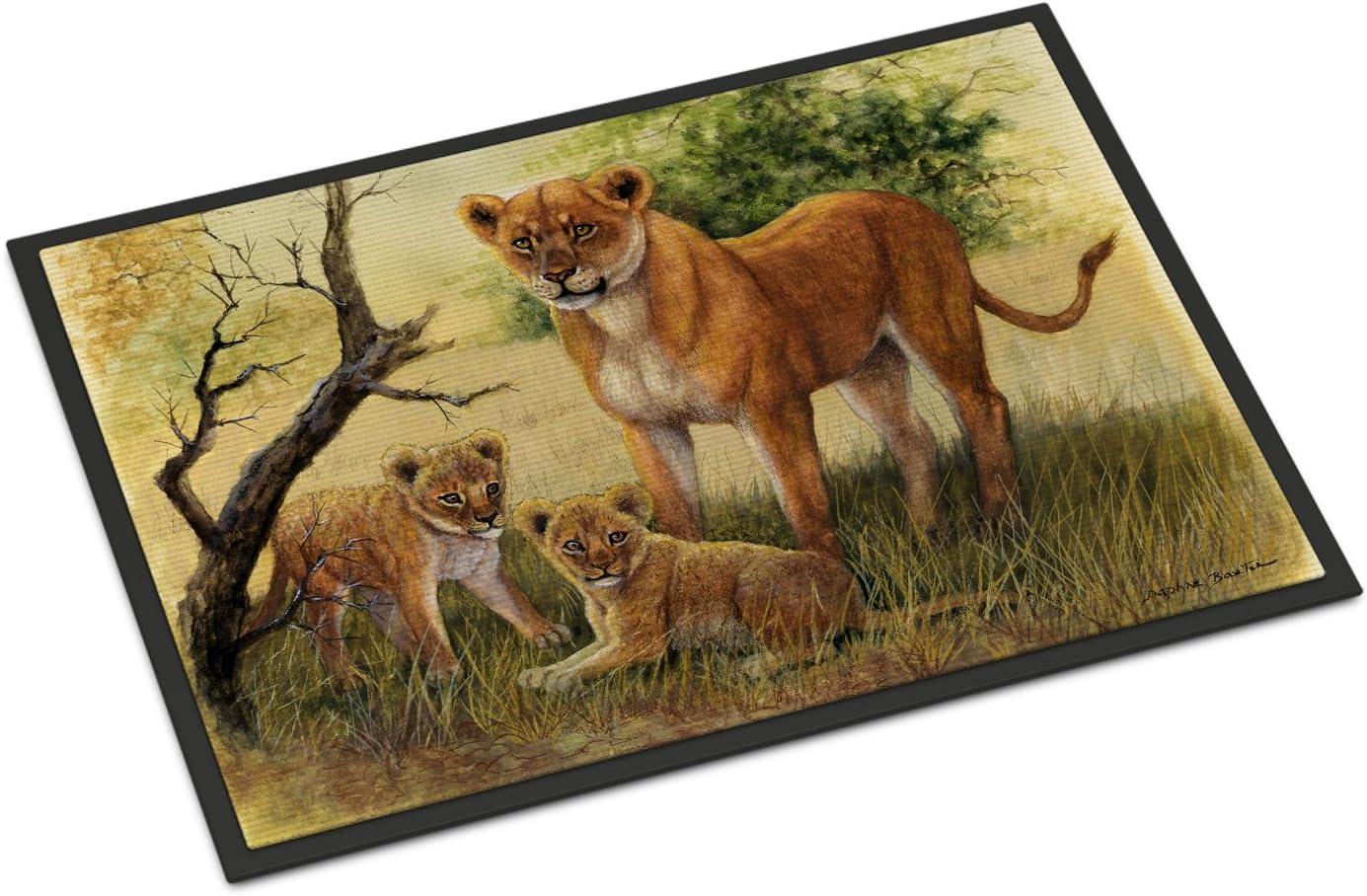 Amazon Com Caroline S Treasures Bdba0307mat Lion And Cubs By Daphne Baxter Indoor Or Outdoor Mat 18x27 18h X 27w Multicolor Caroline S Treasures Home Kitchen