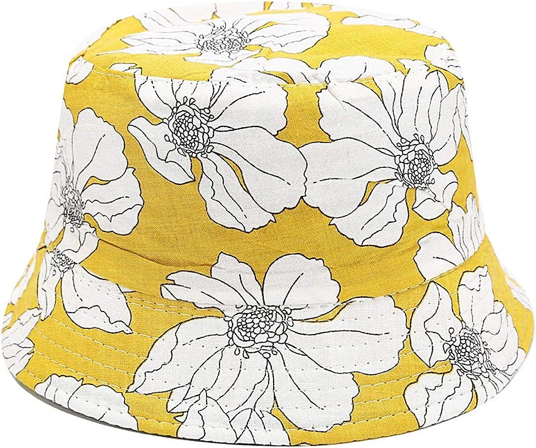 Giovacker Women's Cotton Leopard Print Bucket Hat Sun Wide Brim Reversible Cap