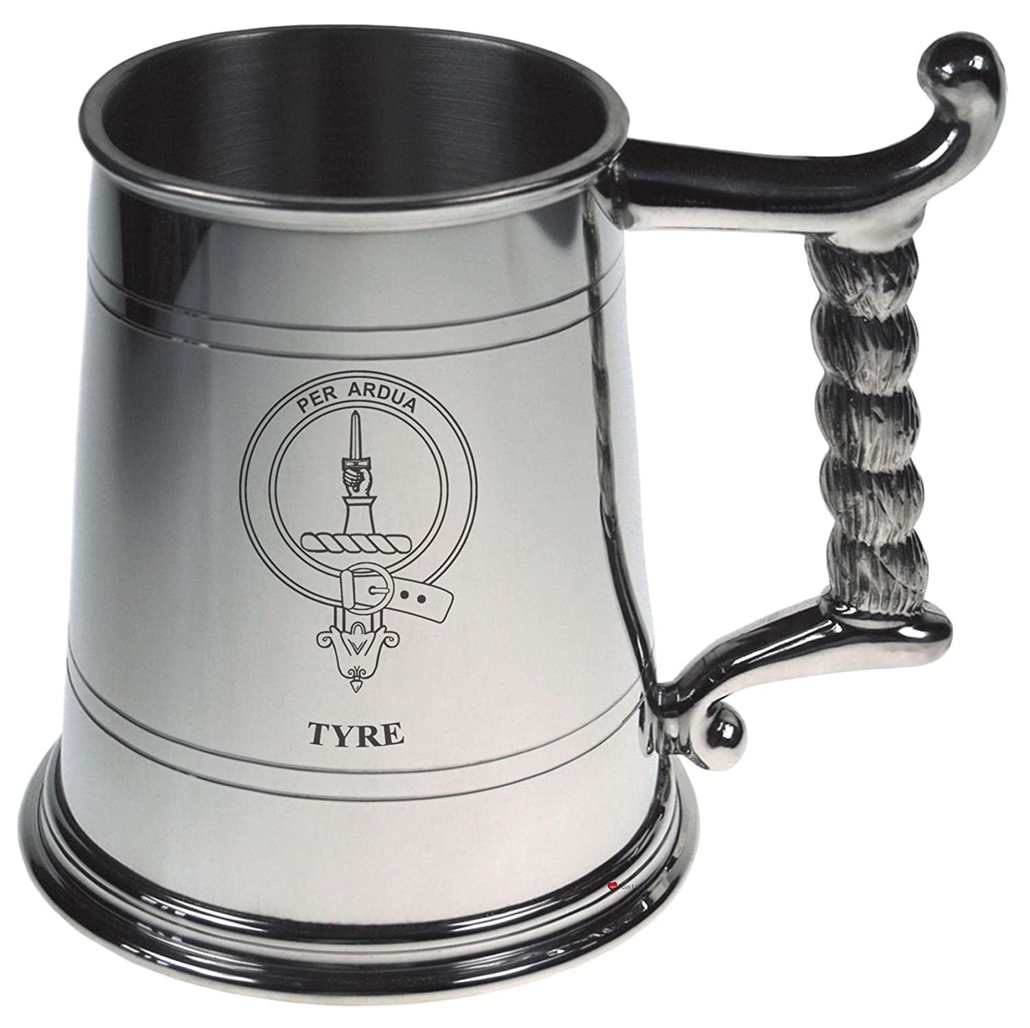 Tyre Crest Tankard with Rope Handle in Polished Pewter 1 Pint Capacity