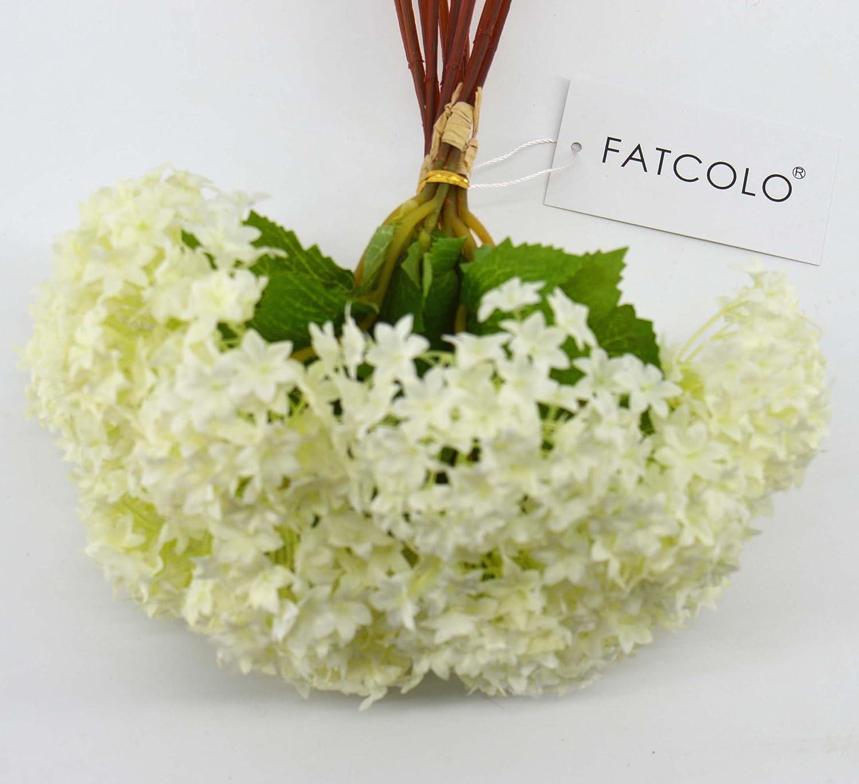 Amazon.com: FatColo Mini Artificial Silk Flower Bouquet, White (12 ...