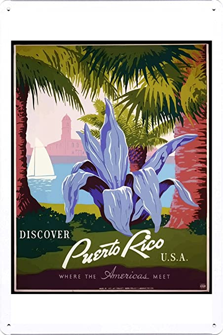 Tin Sign of Retro Vintage Travel Poster Puerto Rico (20x30cm) by Nature  Scene Painting