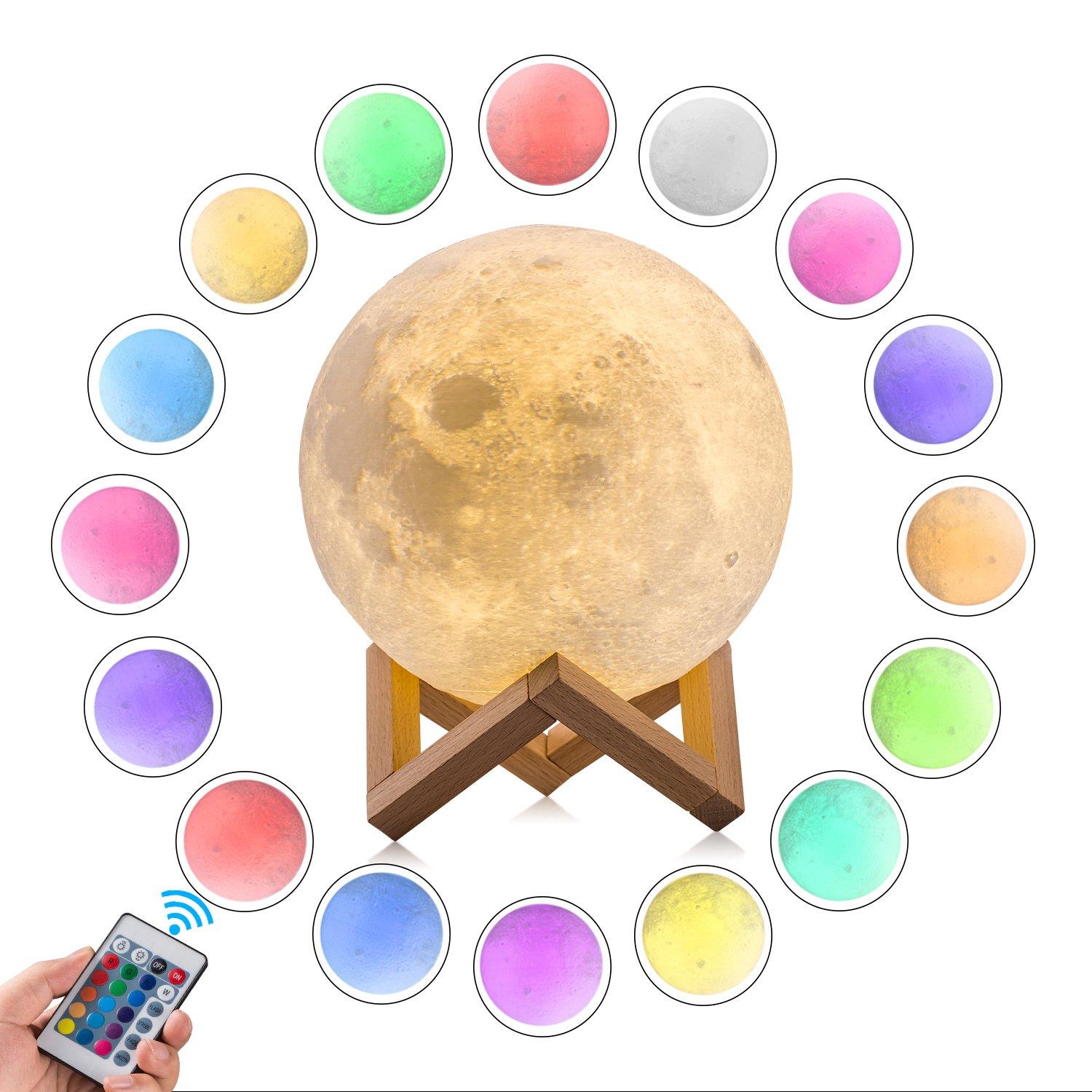 GPJOY Moon lamp, 3D printing LED 16 Colors RGB Moon night light, 2018 Newest Upgrade Moon Night Light with Remote&Touch Control and Adjustable Brightness with Wooden Stand, Diameter 5.7 Inch