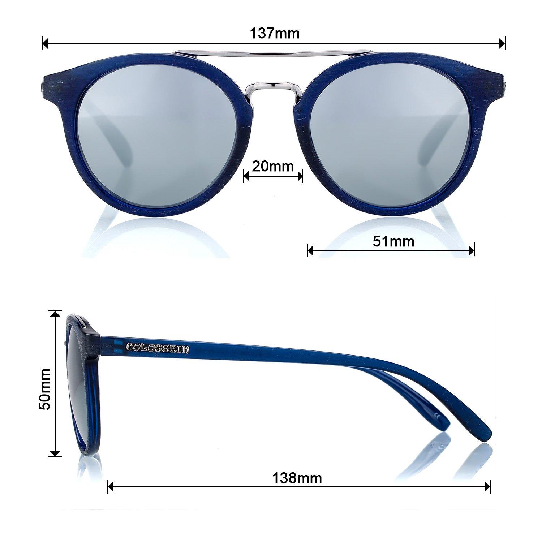 COLOSSEIN Retro runde Spiegelbrille, Sonnenbrillen, mit polarisierten Gläsern, klassisches Design für Damen