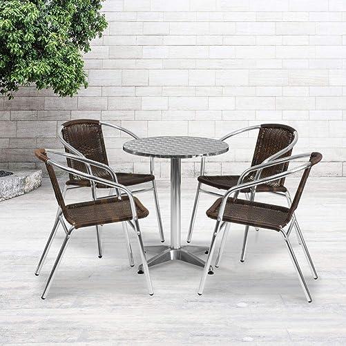 Flash Furniture 23.5'' Round Aluminum Indoor-Outdoor Table Set