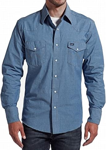 Wrangler Chambray - Camisa vaquera con botones pequeños para hombre - Azul - Medium: Amazon.es: Ropa y accesorios