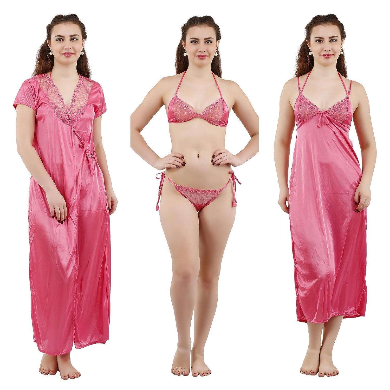Romaisa Women s Satin Nightwear Set of 4 Pcs Nighty aec5580ab
