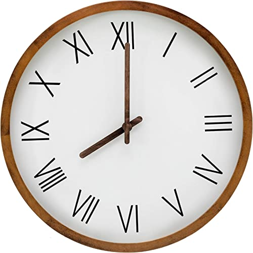 Large 16-inch Mid-Century Farmhouse Wooden Wall Clock, Made with Beautiful Pine Wood. Great Decor for Your Living Room, Kitchen or Bedroom. Silent, Decorative, Indoor, Round, Black Roman Numerals.