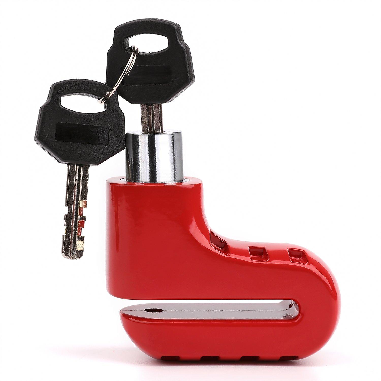 Disc Brake Lock Anti-theft Waterproof Brake Disc Wheel Security Lock for Motorcycle Motorbike Sport Racing Bike SPD001 (RED)