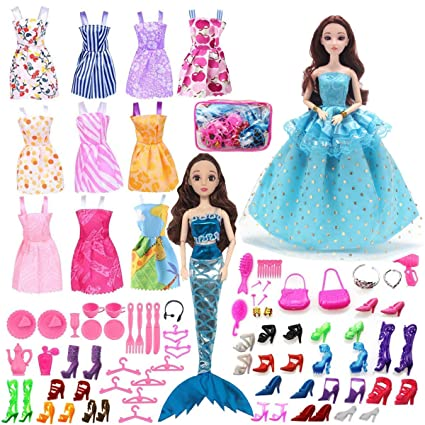 5498db392f504 ZtuoYong 72 Pack Doll Clothes Set for Barbie Doll Included 12 Pack Doll  Clothes Party Gown Outfits and 60pcs Varous Doll Accessories with Gift  Package