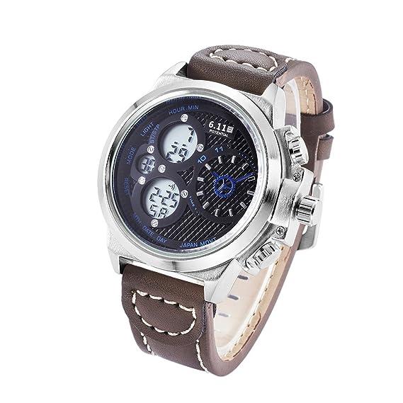 Funnyrunstore 6.11 Multifuncional Reloj de Pulsera de Doble Pantalla Militar Escalada natación Deporte Impermeable Reloj Luminoso de Negocios (Negro y Azul ...