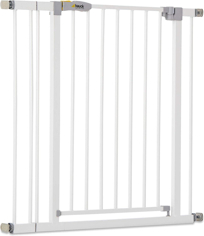 Hauck Open N Stop KD Puerta de seguridad incluido extensión de 9 cm, para escaleras 84 - 89 cm, sin agujeros en la pared, con apertura a ambos lados, hierro, blanco