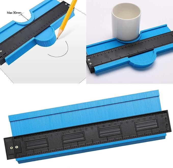 10 In Widen Medidor de Contornos Regla de Medici/ón Perfil Contour Gauge Duplicator para Azulejos Edge Shaping Madera Medida /& Azulejos laminados Azul