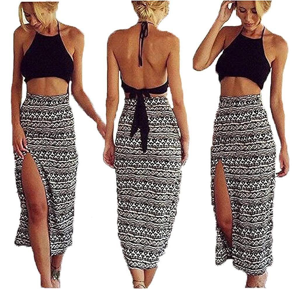 53e46d49cb Amazon.com: Bamgool Women Bralet Cami Crop Top Two Piece Set Split Skirt  Casual Dress: Clothing