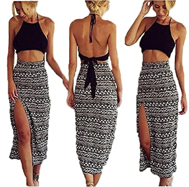 beb7ee10996ac Bamgool Women Bralet Cami Crop Top Two Piece Set Split Skirt Casual Dress