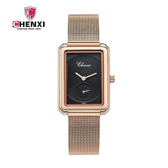HWCOO Relojes Nuevo reloj matutino reloj de mujer rectangular malla de oro rosa con reloj de cuarzo resistente al agua reloj de señoras 090A Reloj de ...