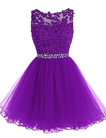 JAEDEN Appliqued Lace Short Cocktail Dresses Open Back Homecoming Dress Tulle Prom Gown Purple US 10