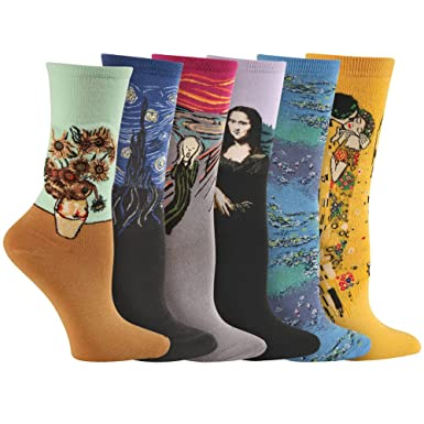 Womens Colorful Fine Art Socks - Da Vinci, Munch, Van Gogh, Klimt -