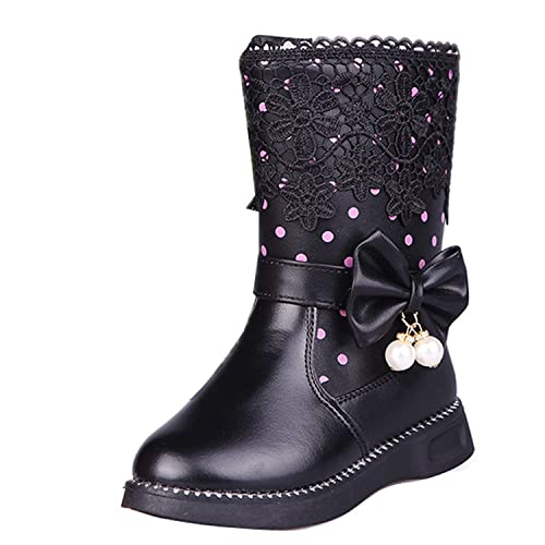 85626980596 Toddler Kids Girls Mid Calf Boots Zip Up Bowknot Polka Dot Lace Flat Faux  Leather Boots
