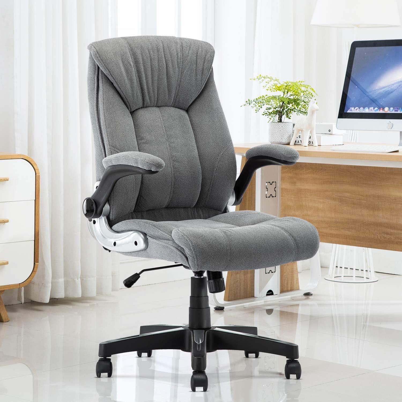 B2C2B Velvet Fabric Executive Office Chair Computer Desk Chair Ergonomic Adjustable Racing Chair Task Swivel Chair Armrest and Lumbar Support (Grey)