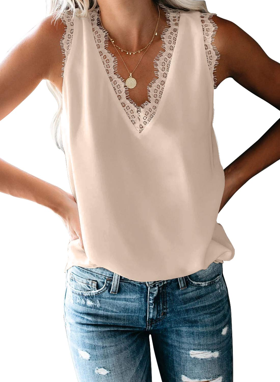BLENCOT Women's V Neck Lace Trim Tank Tops Casual Loose Sleeveless Blouse Shirts