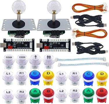 Arcade LED Buttons and Joystick Kit Controller Zero Delay USB Encoder MAME JAMMA