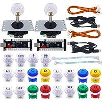 SJ@JX Arcade Game Controller DIY Kit 2 Player Zero Delay USB Encoder Microswitch Button Joystick Controller for Retro…